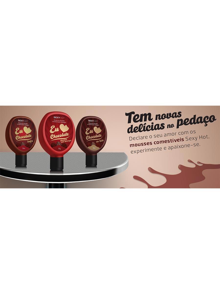 Eu Amo Chocolate - Gel Comestível para Massagem - Chocolate com Morango